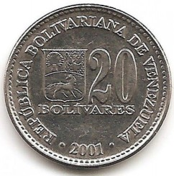 Coin > 20bolívares, 2000-2001 - Venezuela  - reverse