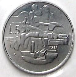 العملة > 5ليرة, 1982 - سان مارينو  (Social Achievements) - reverse
