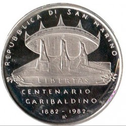 Moneta > 500lire, 1982 - San Marino  (100° Anniversario - Morte di Giuseppe Garibaldi) - reverse