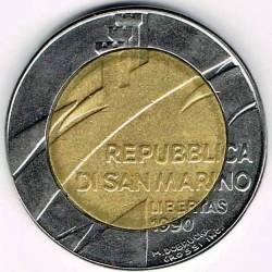 Moneda > 500liras, 1990 - San Marino  (Dieciséis siglos de historia) - obverse