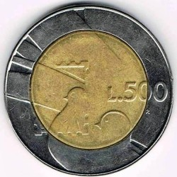 Moneda > 500liras, 1990 - San Marino  (Dieciséis siglos de historia) - reverse