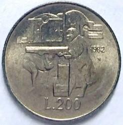 Монета > 200лір, 1982 - Сан-Марино  (Соціальні досягнення) - reverse