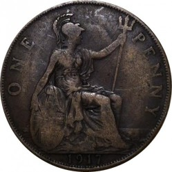 Coin > 1penny, 1917 - United Kingdom  - reverse