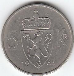 Coin > 5kroner, 1963 - Norway  - reverse