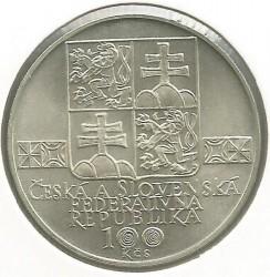 Moneta > 100corone, 1993 - Cecoslovacchia  (100° anniversario -  Società museale slovacca) - obverse