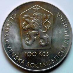 Moneda > 100coronas, 1981 - Checoslovaquia  (20th Anniversary of the First Human Spaceflight) - obverse