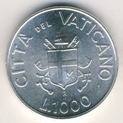 Minca > 1000lire, 1991 - Vatikán  - reverse
