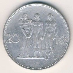 Moneda > 20coronas, 1933-1934 - Checoslovaquia  - reverse