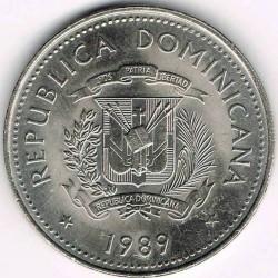 Coin > ½peso, 1989 - Dominican Republic  - obverse