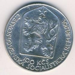 Moneta > 100corone, 1983 - Cecoslovacchia  (100° anniversario - Teatro Nazionale di Praga) - obverse