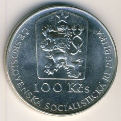 Münze > 100 Kronen, 1990 - Tschechoslowakei  (250th Anniversary - Death of Jan Kupecky) - obverse
