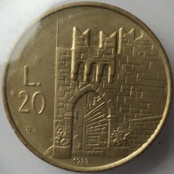 Moneda > 20lire, 1988 - San Marino  (Enfortiment de San Marino) - obverse