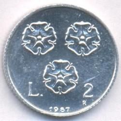 Moneda > 2lire, 1987 - San Marino  (15è aniversari - Represa de la Moneda) - reverse