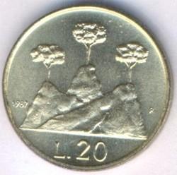 Moneda > 20liras, 1987 - San Marino  (15 aniversario - Reanudación de la moneda) - reverse