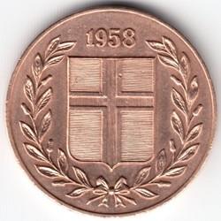 Münze > 5Aurar, 1946-1966 - Island   - obverse