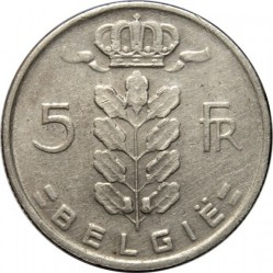 硬币 > 5 法郎, 1948-1981 - 比利时  (Legend in Dutch - 'BELGIE') - obverse