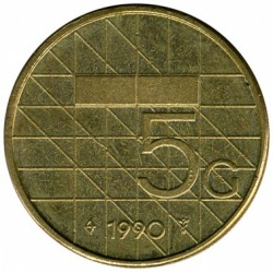 Monēta > 5guldeņi, 1988-2001 - Nīderlande  - obverse