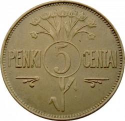 Minca > 5centas, 1925 - Litva  - reverse