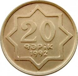 Монета > 20гяпіків, 1992 - Азербайджан  (Латунь /жовтий колір/) - reverse