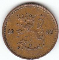 Münze > 25Penny, 1940 - Finnland  (Copper /brown color/) - obverse
