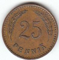 Münze > 25Penny, 1940 - Finnland  (Copper /brown color/) - reverse