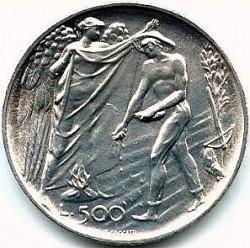 Moneta > 500lire, 1976 - San Marino  (12° anniversario - Introduzione del sistema di sicurezza sociale) - reverse