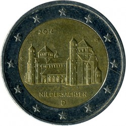 Moneda > 2euros, 2014 - Alemania  (Iglesia de San Miguel, Baja Sajonia) - reverse