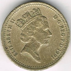 Moneta > 1svaras, 1986-1991 - Jungtinė Karalystė  - obverse