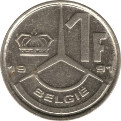 Moneta > 1frank, 1989-1993 - Belgia  (Legenda po holendersku - 'BELGIE') - reverse