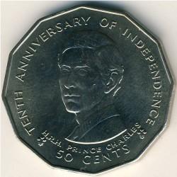 Moneta > 50centesimi, 1980 - Figi  (10° anniversario dell'indipendenza) - reverse
