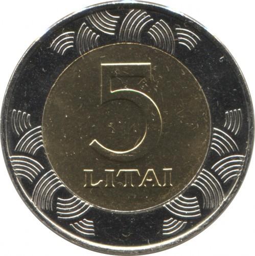 LITHUANIA BI-METAL 2 LITAS 2008 COIN UNC