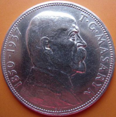 20 korun 1937 - President Masaryk, Czechoslovakia - Coin