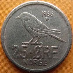 Mynt > 25ore, 1966 - Norge  - reverse
