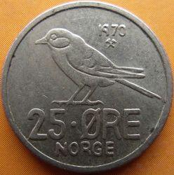 Mynt > 25ore, 1970 - Norge  - reverse