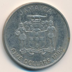 Moneta > 5dollari, 1993 - Giamaica  (100° anniversario - Nascita di Norman Washington Manley) - reverse