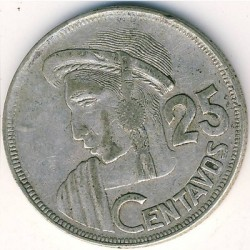 Moneta > 25centavos, 1950-1959 - Gwatemala  - obverse