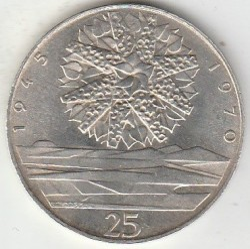 Moneta > 25corone, 1970 - Cecoslovacchia  (25° anniversario - Liberazione della Cecoslovacchia) - obverse