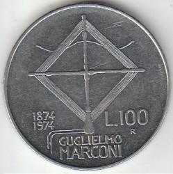Coin > 100lire, 1974 - Italy  (100th Anniversary - Birth of Guglielmo Marconi) - obverse