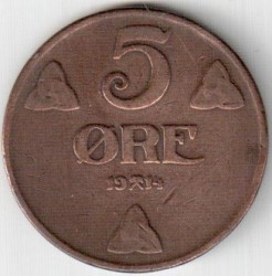 Coin > 5ore, 1908-1952 - Norway  - obverse