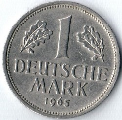 Coin > 1 mark, 1965 - Germany  - reverse