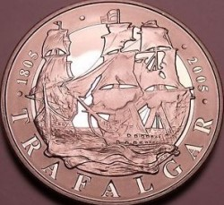 Coin > 5 pounds, 2005 - United Kingdom  (200th Anniversary - Battle of Trafalgar) - obverse