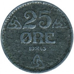 Монета > 25эре, 1943-1945 - Норвегия  - obverse