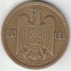 Moneda > 20lei, 1930 - Rumanía  (Portrait of Carol II) - obverse