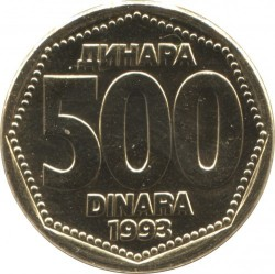 Moneda > 500dinares, 1993 - Yugoslavia  - reverse
