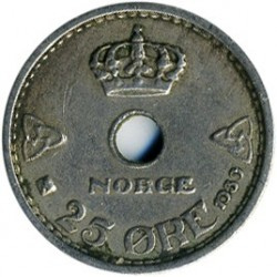 Moneda > 25ore, 1924-1950 - Noruega  - obverse