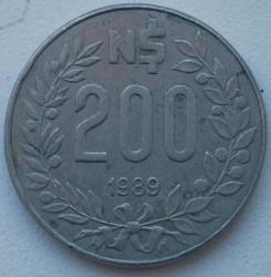 Moneda > 200nuevospesos, 1989 - Uruguay  - reverse