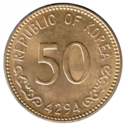 Coin > 50 hwan, 1959-1961 - South Korea  - reverse