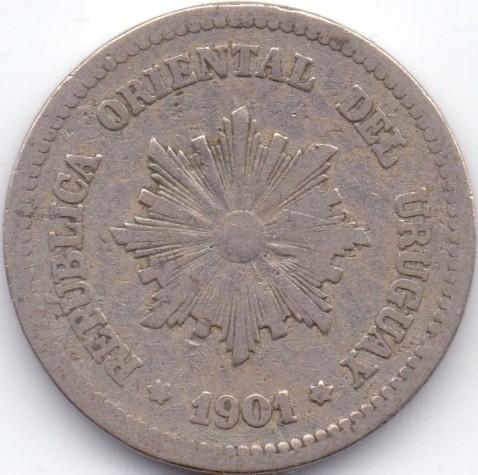 1909 URUGUAY 2 CENTESIMOS FREE SHIP Excellent Vintage Coin BARGAIN BIN #90