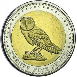 Moneta > 25pensów, 2009 - Tristan da Cunha  (Płomykówka zwyczajna (Wyspa Gough)) - reverse