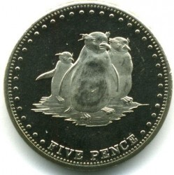 Moneta > 5pensów, 2009 - Tristan da Cunha  (Pingwin długoczuby (Wyspa Gogh)) - reverse